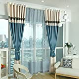 XUEPING Nähvorhänge, Postmodern Volle Schattierung, Schatten, Isolierung, Geeignet für Das Schlafzimmer, Wohnzimmer 12 Größen Boden bis zur Decke Fenster Erkerfenster Blau Fertiges Produkt