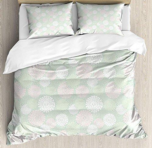LnimioAOX Set Minze Bettbezug, Dahlia Blumen in Pastelltönen, Blumenmuster, Blumenthema, Set von dekorativen Betten mit 3 Shams, Bett/Queen, grünen Mandeln weiß/Hellrosa - Dahlia Sham