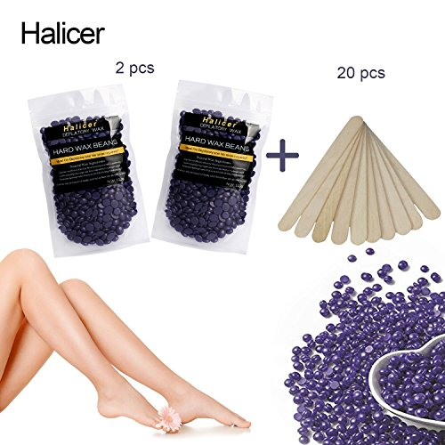 Perles de Cire à épiler, Cire Dépilatoire Perles, épilation à la cire à granulés, Hard Wax Beans, Solid Depilatory Grain Démaquillant pour le Corps Bikini épilation, Hot Film Hard Wax Pellet Waxing Bikini Hair Removal Bean, camomille, 2X100g