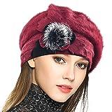 Damen Wolle Barette Angola Kleid Beanie Schädel Mützen Stricken Winter Hüte (Rotwein)