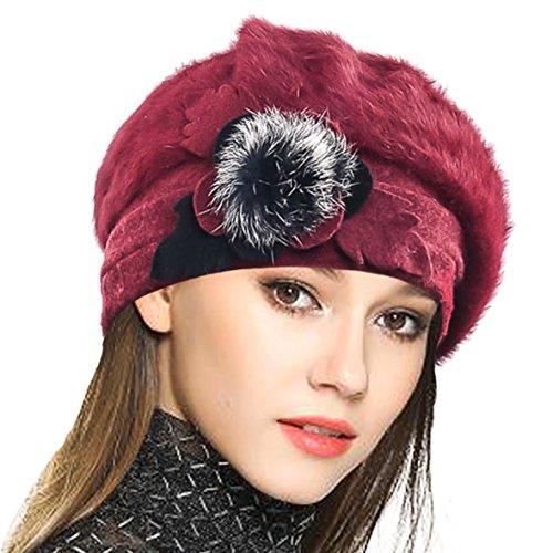 VECRY Damen Wolle Barette Angola Kleid Beanie Schädel Mützen Stricken Winter Hüte (Rotwein) (Beatnik Kostüm)