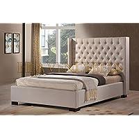 HeavenlyBeds Wingback Bed Frame Upholstered Fabric Velvet Chenille Double King Size (Cream Chenille, 5