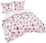 AmeliaHome 06907 2tlg Biber Bettwäsche 155x220 cm mit 1 Kopfkissenbezug 80x80 cm 100% Baumwolle Blumenmuster Bettbezug Reißverschluss Snuggy Collection Sweet Dreams Vogel weiß rosa