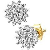 Naava Damen-Ohrstecker 9k Cluster Ohrringe 375 Gelbgold teilrhodiniert Diamant (0.25 ct) weiß Rundschliff