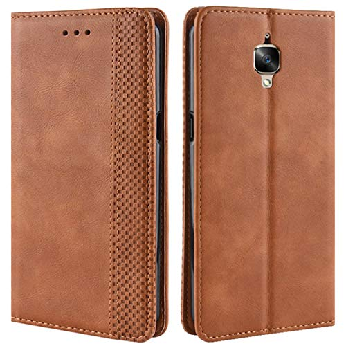 HualuBro Coque OnePlus 3T, Coque OnePlus 3, Etui Housse à Rabat en Retro PU Cuir Flip Leather Case Cover Antichoc Portefeuille Protection Stand Coque pour One Plus 3 / OnePlus 3T (Marron)