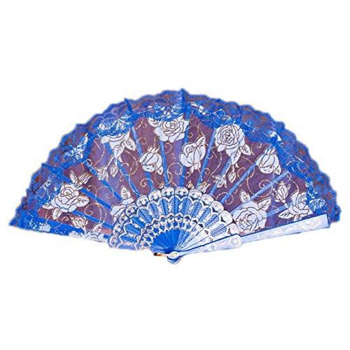 Junhongzhang pizzo rosa danza ventola pieghevole palmare modello fiore dancing ventola stile cinese di piegatura antichità ventilatore ventola imbrunimento,d