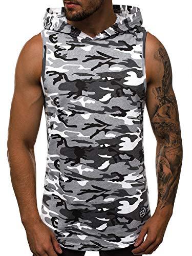OZONEE Mix Herren Tanktop Tank Top Tankshirt T-Shirt Kapuzenpullover Unterhemden Ärmellos Muskelshirt Fitness Sommer Basic Kurzarm 777/5694BO WEIß-GRAU-CAMO L -