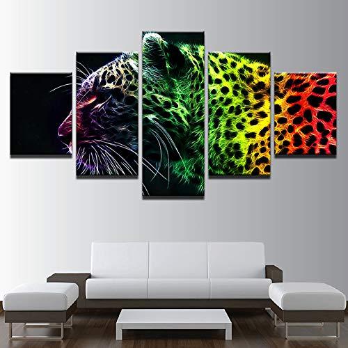 HD 5 Stück Bunte Gepard Drucke Auf Leinwand Abstrakt Mauer Bild Kunstwerk Zuhause Dekorationen,B,30X40x2+30X60x2+30X80x1