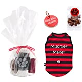 K9 Mischief Maker Gift Pack includes Tinned Mischief Maker Extra Small Black And Red Striped Dog T-shirt/ Gift Boxed Red Mischief Maker Identity Tag/ Gravy Bone Treats