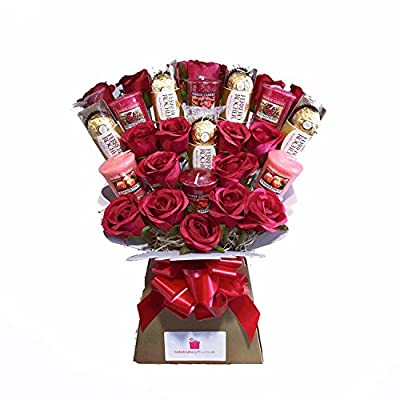 Yankee Collection Scented Candle, Silk Red Roses & Ferrero Rocher Chocolate Bouquet Gift Set from Celebrate Gifts Ltd