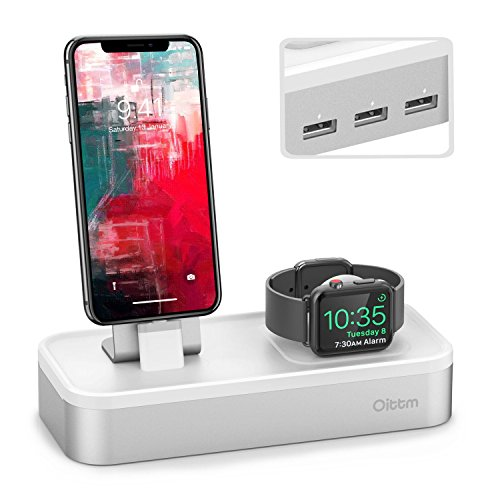 Oittm 5 USB Ladestation für iPhone und Apple Watch Series 3/Apple Watch Series 2/Apple Watch Series 1/iPhone 8/iPhone 8 plus/iPhone X/iPhone 6 Plus/iPhone 6/iPhone 7 Plus/iPhone 7(Silber Ohne Kabel) (Ipod 4 Dock Wecker)