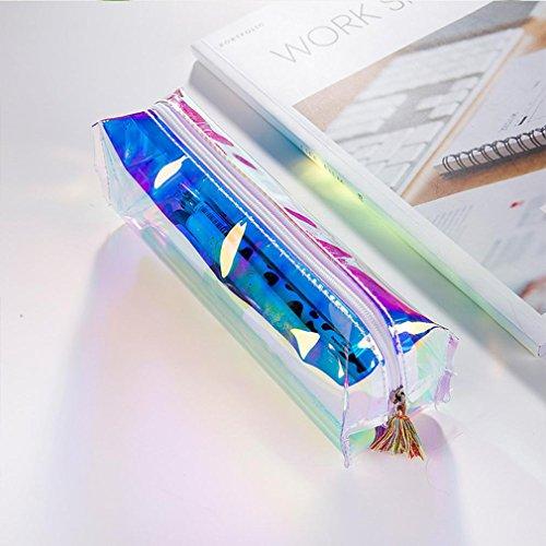 Bleistifte Halter, goodculler bunt Stationery Pen Federmäppchen Kosmetiktasche Travel Make-up Tasche hohe Kapazität 19.5* 4 *6 cm blau (Bleistift-beutel Mit Binder Ringen)
