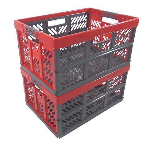 2 x Profi - Klappbox TÜV zert. 45 L bis 50 kg anthrazit / rot Faltbox Kunststoff Box Kiste (Kunststoff-klappbox)