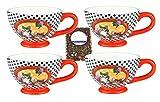 Set di 4latte caffè tazza/müsli tazza con gatti–Decorazione–bianco e nero a scacchi 0,7litro tazza in ceramica con manico leggero + campione tè 5524