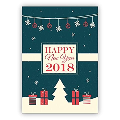 Weihnachts Klappkarten Set (4Stk) Edle englische Retro Weihnachtskarte/ Silvesterkarte zum neuen Jahr mit Weihnachts Ornamenten: Happy new year 2018