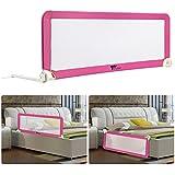 Amzdeal Barrière de Lit Portable pour bébé enfant, Barrière de sécurité Lavable en Nylon + Plastique 150 * 50 * 40cm (Rose)