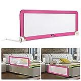 Amzdeal Barriera per letto portatile per neonati bambino, Barriera di sicurezza pieghevole e lavabile in nylon + plastica 150 * 50 * 40 cm (rosa)