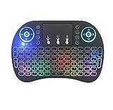 DingSheng Remote 3 Farbe Hintergrundbeleuchtung trottete Lampe Mini Funk-Tastatur, i8 plus 2,4 GHz Portable mit Touchpad Maus, Beste für Android Smart TV Box Pad XBOX
