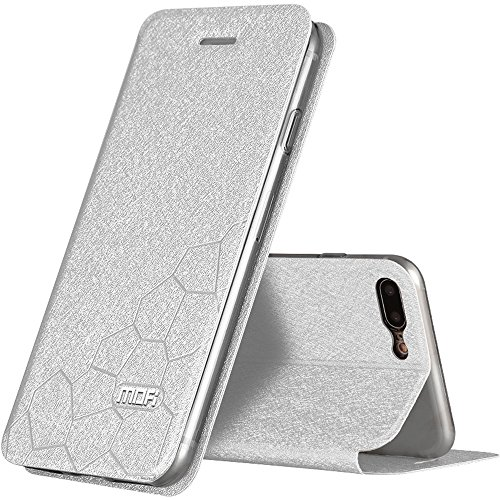Silber Fußball Stil PU-Leder Hülle Flip Case TPU Silikon Zurück Schutzhülle Cover + Displayschutzfolie für Apple iPhone 7 Plus 5,5 Zoll Vooway® MA00319 Silber
