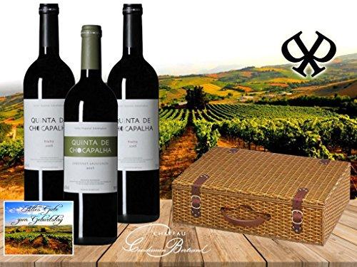 100% Portugal Vintage Wein Geschenkset | QUINTA DE CHOCAPALHA Vinho Tinto | Das Luxus Weingeschenk für Liebhaber portugiesischer Weine mit Geschenkkarte | Die Alternative zu Weinen aus dem Bordeaux oder Italien | Syrah, Cabernet Sauvignon, Merlot | 3er Set Spitzenweine aus Portugal | Ideal zum Geburtstag Vatertag Jubiläum