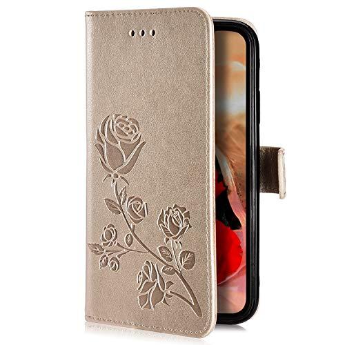 Uposao Kompatibel mit Samsung Galaxy J7 2017 Handyhülle Handytasche Rose Blumen Muster Leder Wallet Schutzhülle Brieftasche Hülle Klapphülle Brieftasche Tasche Flip Case Kartenfächer,Gold