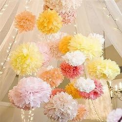 Love Knot 23: Free Shipping 20Pcs 6 8 10 12(15CM 20CM 25CM)Tissue Paper Pompoms Paper Flower Balls Wedding Pom Poms Artificial Flowers