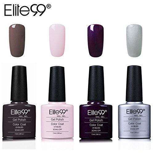 Elite99 4pcs Kit de Esmalte de Uñas de Gel UV LED Shellac Laca Pintauñas Color Semipermanente Base...