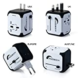 Moobom Universal Weltweit Mini Travel Adapter Plug Power (US UK EU AU) Multinational...