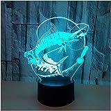 Natale Pesca 3d Lampada 7 colori Visual Touch Led Illusion Fish Nightlight Remote Touch Camera da letto Decorazioni per ufficio Appassionati di pesca Tecnologia dei regali