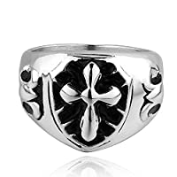 Lureme® Punk Style Stainless Steel Black Biker Silver Black Band Ring for Boys and Men(04001072-parent) (7)