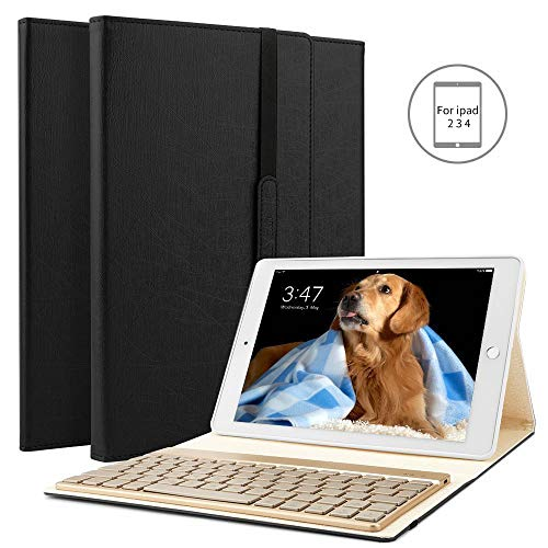 BORIYUAN Ipad 4 Ipad 3 Ipad 2 Bluetooth Tastatur Hülle, Stand Folio PU Hülle mit 7 Farben hinterleuchtet abnehmbare Wireless Bluetooth Tastatur für Apple iPad 2/3/4 - (Schwarz)
