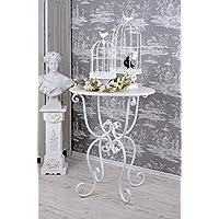 Palazzo Int - Elegante tavolino tondo, in ferro battuto, stile classico, da giardino, colore: bianco