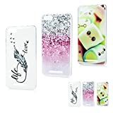 MAXFE.CO 3x Coque Wiko Lenny 3 Etui Silicone Transparent Housse TPU Antichoc Case Cover Protection Cuir Accessoire Coques pour Wiko Lenny 3 Plume + Spot + Bonbons