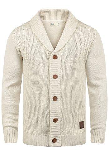 !Solid Torres Herren Strickjacke Cardigan Feinstrick mit Schal-Kragen und V-Ausschnitt aus hochwertiger Baumwollmischung Meliert, Größe:L, Farbe:Oyster Grey (8215)