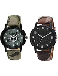 Xforia Boys Watch Army Leather Casual Analog Watches For Men Pack Of 2