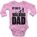 Mikalino Babybody My Dad is The Walking Dad Langarm 100% handbedruckt in Deutschland - bei 60 Grad waschbar - mit Spruch, Farbe:rosa, Grösse:56
