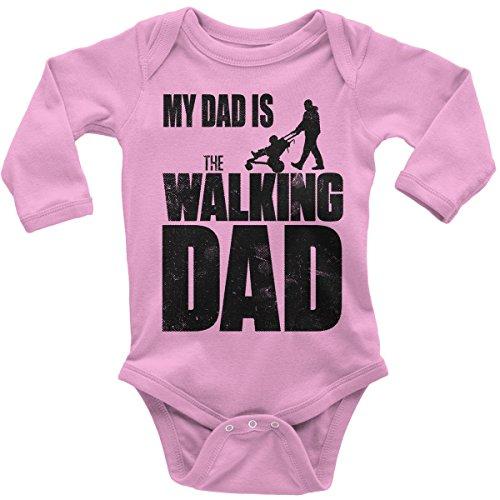 Mikalino Babybody mit Spruch für Jungen Mädchen Unisex Langarm My Dad is The Walking Dad | handbedruckt in Deutschland | Handmade with Love, Farbe:rosa, Grösse:62