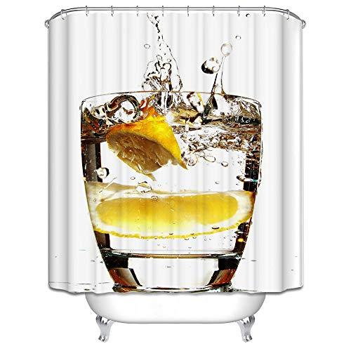 DOLOVE Anti-Schimmel Duschvorhang Vintage Limonade Cup Duschvorhang PVC 180x200 Duschvorhänge Bunt