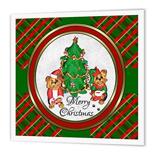 3dRose ht_185551_1 Transferpapier zum Aufbügeln, Aufschrift Merry Christmas, Weihnachtsmann und Elf, Yorkshire Terrier, 20,3 x 20,3 cm, Weiß (8x11 Druck-foto-papier)