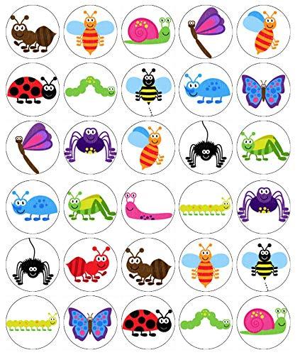 30 decorazioni per cupcake a forma di insetti, in carta di riso commestibile, per torte di compleanno