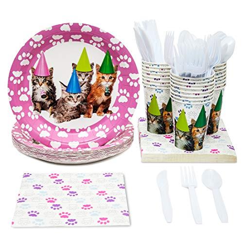 Juvale Einweg Geschirr Set-Dient 24-Inklusive Kunststoff Messer, Löffel, Gabeln, Pappteller, Servietten, Tassen, schwarz, weiß Katze - Kunststoff-löffel-gabel-messer-set