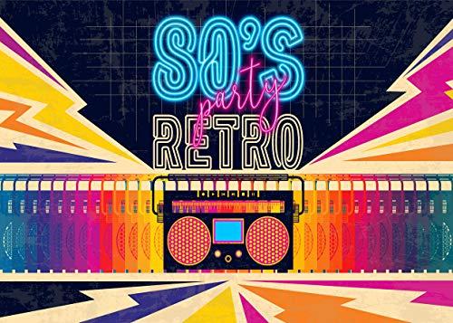 e Party Hintergrund 7x5FT Disco Thema Retro-Stil Foto Hintergrund 80er Geburtstag Hintergrund Zeichen achtziger Jahre achtziger Jahre Photobooth Requisiten CP-140 ()