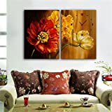 paintings Clocks NAUY-Modern Style Lienzo Pintura Hermosas Flores Reloj de Pared en Lona 2pcs