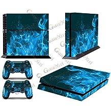 GameXcel ® PS4 Diseñador Pegatina protectora de la piel para Sony Playstation 4 consola del sistema más dos (2) Calcomanías Para: mando inalámbrico DUALSHOCK PS4 - Blue Fire