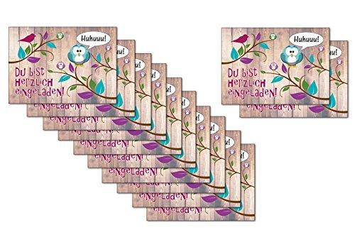 12-er Kartenset (10 + 2 Gratis-Karten) mit niedlichem, lustigem Uhu- bzw. Eulen-Motiv, Kindergeburtstag-Einladungskarten für die Geburtstags-Party - 4