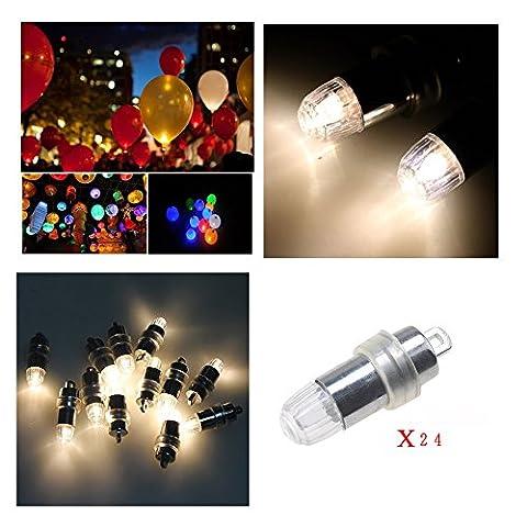 24Pcs Demarkt weiss Mini LEDS Ballons Beleuchtung Batteriebetrieben Luftballon Party