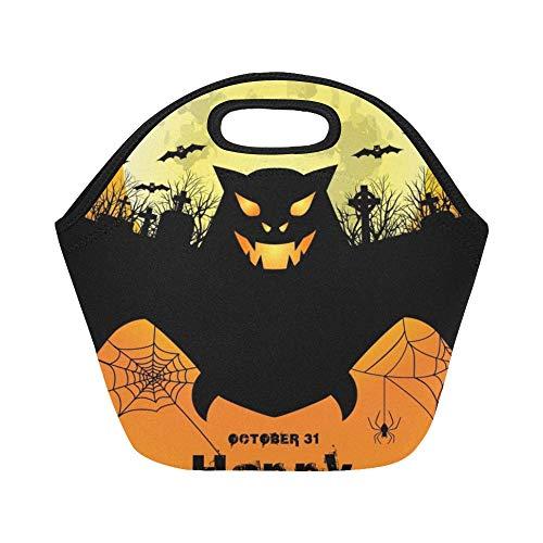 Isolierte Neopren-Lunch-Tasche Happy Halloween Poster Scary Bat Große, wiederverwendbare, dicke Thermo-Lunch-Tragetaschen Für Brotdosen Für den Außenbereich, Arbeit, Büro, Schule