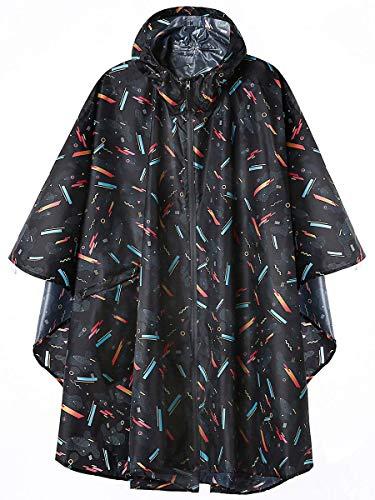 LINENLUX Regen Poncho Jacke Mantel für Erwachsene mit Kapuze wasserdicht mit Reißverschluss im Freien (Regen Jacke Frauen)