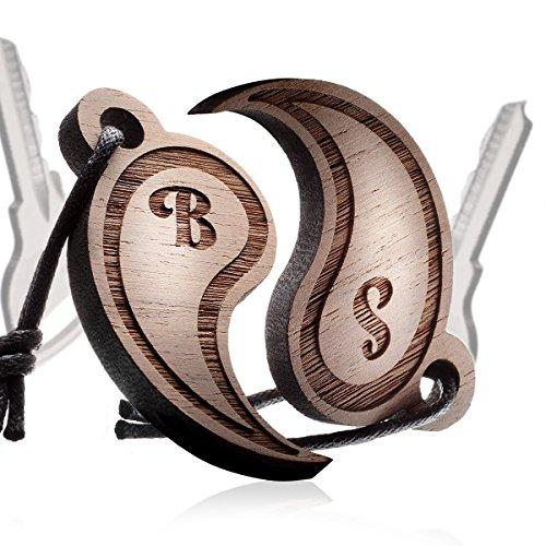 schenkYOU® YIN YANG - Partnerset Schlüsselanhänger mit Gravur - IHR WUNSCHTEXT + SYMBOL - gestalten Sie Ihren gravierten Anhänger aus Holz