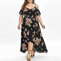 Kanpola Women Online Casual Short Sleeve Cold Shoulder Boho Flower Print Long Maxi Dress